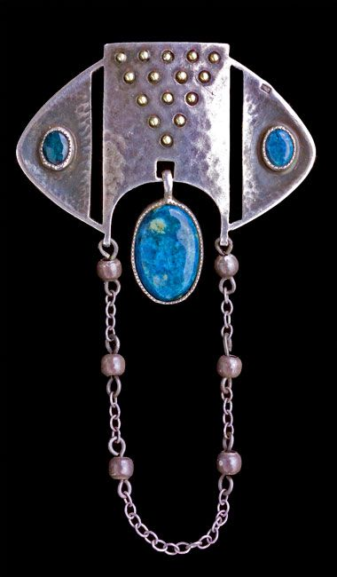 This is not contemporary - image from a gallery of vintage and/or antique objects. ALFRED BERNHEIM Fahrner Jugendstil Brooch Silver Swiss lapis