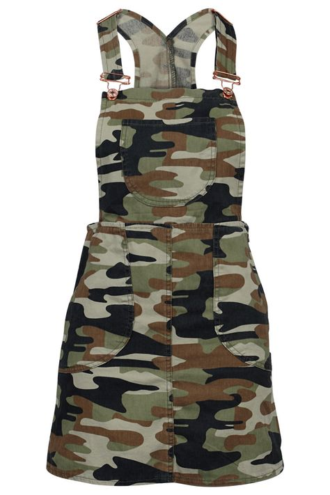GREEN ARMY PRINTED LADIES DENIM DUNGAREES PINAFORE  #overall #military http://www.my1stwish.co.uk/