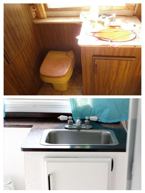 Ugly vintage camper renovated into a modern Glamper.