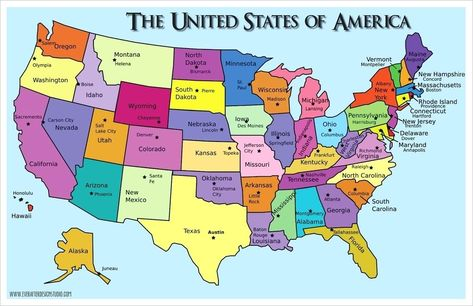 Usa Map States And Capitals Usa Map With States And Capitals 1100