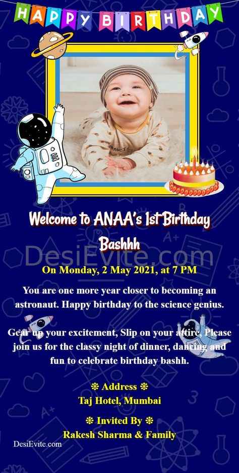 Science Theme Birthday Card For Whatsapp