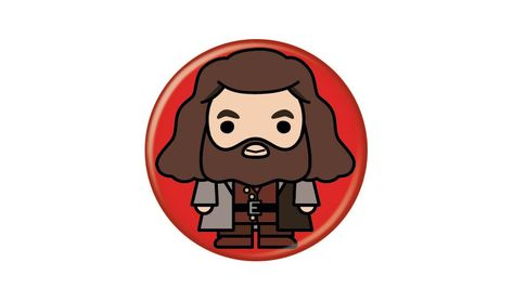 Harry Potter Hagrid Animated Style Character Pin Button - Red