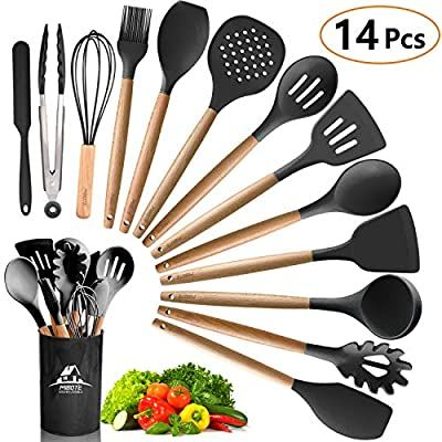 Amazon Com Mibote 12pcs Silicone Cooking Kitchen Utensils Set With Holder Wooden Handles Cooking Tool Silicone Cooking Utensil Set Silicone Cooking Utensils