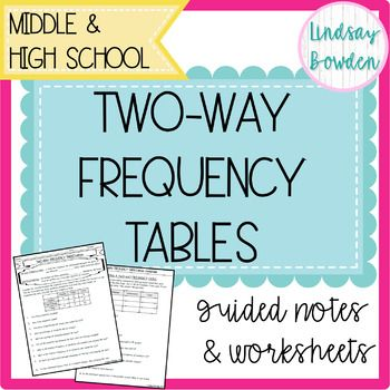 Two Way Frequency Tables Notes And Worksheets In 2020