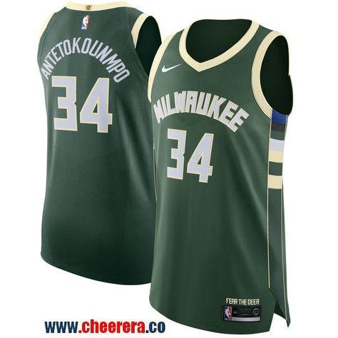 Men's Nike Milwaukee Bucks #34 Giannis Antetokounmpo Green