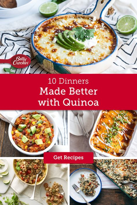 Quinoa dinner recipes may have filled up your healthy meal boards a while ago, but Betty is bringing them back with new ways to bring this super cool grain to your next recipe. Try our Hawaiian Pizza Quinoa Casserole, or Baked Quinoa Mac and Cheese. Easy quinoa dinners make any familiar meal a feel-good all-star.