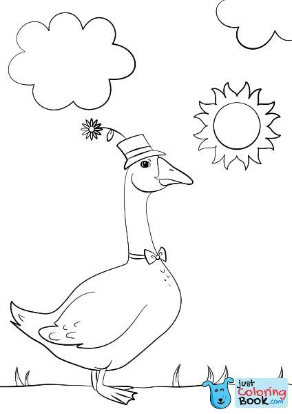 Cartoon Goose Wearing Hat And Bow Tie Coloring Page Free Printable