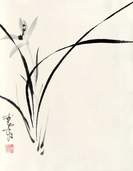 very nice orchid - easy but hard to do a good one  Chinese BrushChinese  ArtJapanese ...