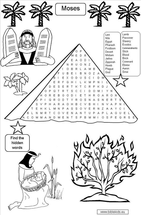 Moses Word Search Puzzle Bible Quiz Sunday School Crafts Bible