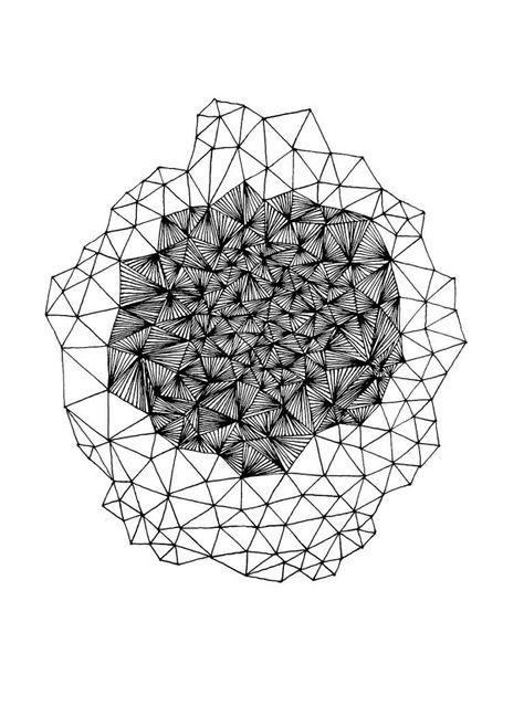 Geode Art Print / Abstract Geometric Black and White Triangles Line Drawing / Minimalist Modern Wall Art Print