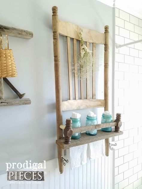 Diy Furniture Rustic Farmhouse Shelf Made from a Rocking Chair and Reclaimed Barn Wood by Prodigal Pieces Reclaimed Furniture, Reclaimed Barn Wood, Refurbished Furniture, Repurposed Furniture, Upcycled Furniture Before And After, Industrial Furniture, Furniture Vintage, Vintage Industrial, Farmhouse Furniture