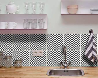 Tile Sticker Kitchen Bath Floor Wall Waterproof Removable Peel N Stick W010be
