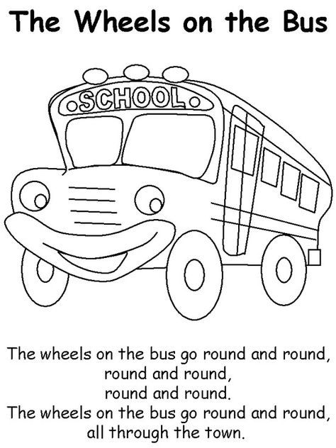 Wheels On The Bus Color Page And Song School Bus Crafts Wheels