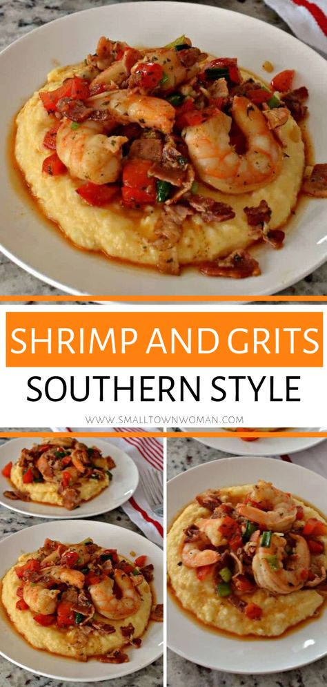 Shrimp and Grits Southern Style with Cheesy Grits A family-friendly recipe that comes together quite quickly! These delectable Shrimp and Grits will leave you licking your plate and longing for more. Save this seafood dish for a scrumptious dinner recipe! Shrimp Recipes For Dinner, Seafood Dinner, Easy Appetizer Recipes, Fish Recipes, Healthy Recipes, Seafood Appetizers, Gourmet Dinner Recipes, Soul Food Recipes, Meal Ideas For Dinner