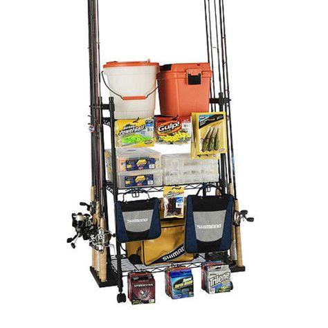Fishing Rod Organizer Rack Reel Tackle Box Hook Storage