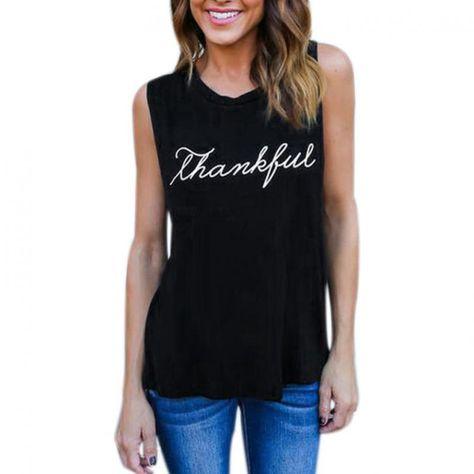 503d5001e63e0c Women crop top vest shirts summer fashion cotton print letter thankful  sleeveless tops blouse shirt blusas mujer de moda 2018 #women #o-neck #none  #short ...