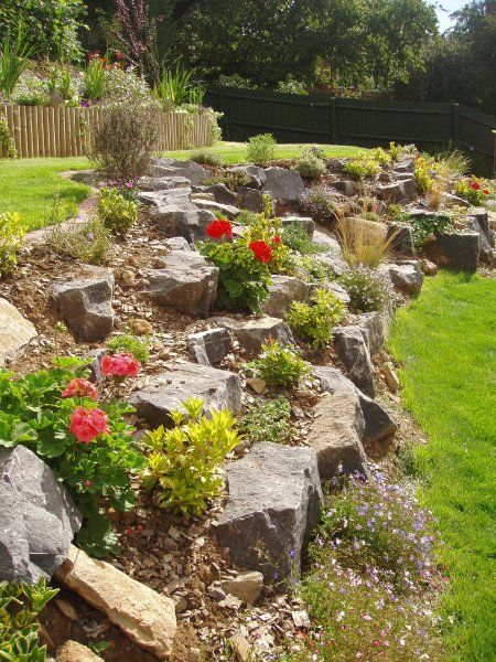 garden rockery idea. i love this idea instead of a retaining wall