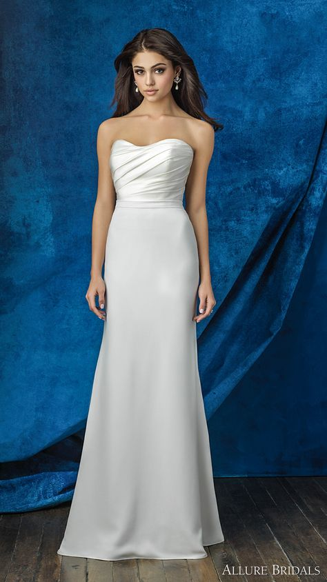 9b3af39d0be ALLURE BRIDALS 2016 mix match strapless sweetheart neckline satin pleated  bodice simple clean classic modified a line skirt wedding dress chapel  train ...