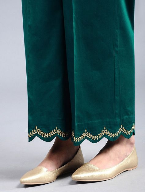 Buy Green Embroidered Cotton Satin Palazzos Women Online at Jaypore.com