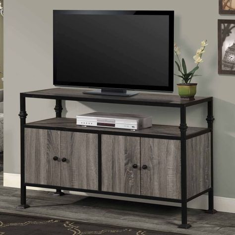 Home Source Tv12365 48 Inch Wide Metal Framed Wood Tv Stand Gray