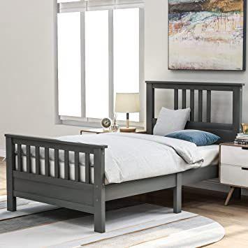 Grey Twin Bed Frame 400lb Heavy Duty Julyfox Hard Wood Platform
