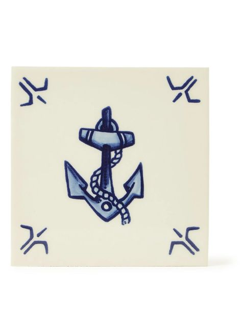 Royal Delft Schiffmacher Royal Blue Tattoo, Hope wandtegel 13 x 13 cm • Blauw • de Bijenkorf