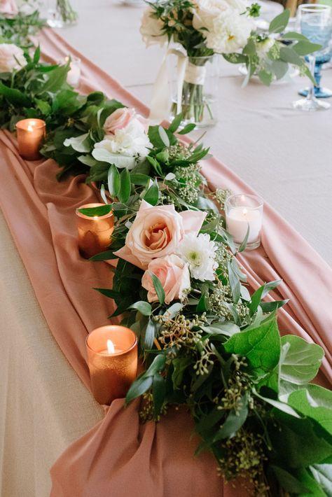 Headtable garland, greenery garland, blush flowers in garland, Niagara Wedding Flowers, Toronto Wedding Flowers, Niagara Wedding Florist, copper wedding ideas, Canadian Wedding Florists
