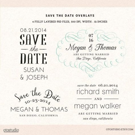 Photoshop Save The Date Overlays Wedding Photo Cards Psd
