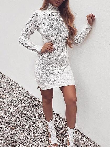 e03035a47d White Cotton High Neck Long Sleeve Women Bodycon Mini Dress – risechic.com