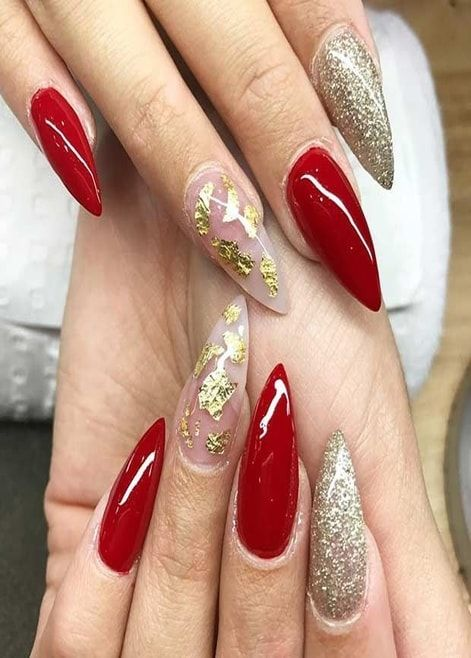 Red Nails With Grey Silky Fashion Red And Gold Nails Red