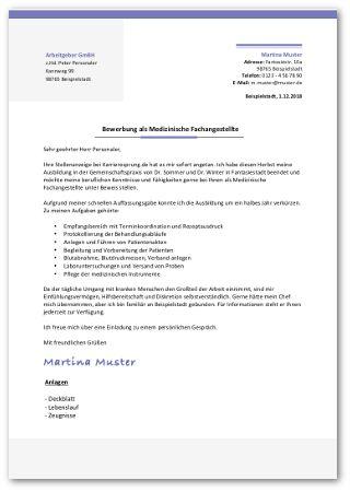 Bewerbung Medizinische Fachangestellte Anschreiben Vorlage
