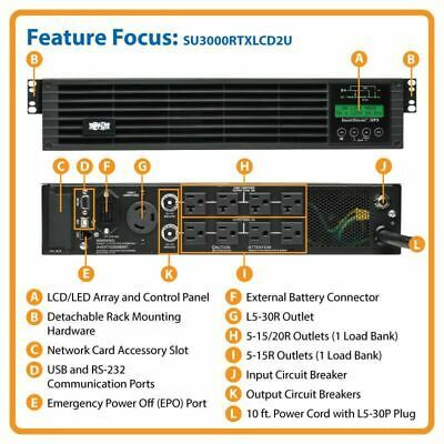 Ebay Link Ad Tripp Lite Su3000rtxlcd2u 3000va 2700w 120v Smart Ups Online Double Conversion Uninterruptible Power Supplies Tripp Lite Tripp