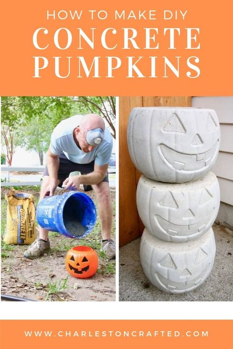 How to Make DIY Concrete Pumpkins - Fall Decor and Recipe IdeasIf you are looking for inexpensive and easy home decor for this Halloween, try making these easy DIY concrete pumpkins. Using Quikrete and plastic pumpkins from the dollar store you can Halloween Prop, Halloween Tags, Outdoor Halloween, Holidays Halloween, Halloween Pumpkins, Diy Halloween Buckets, Diy Halloween Signs, Diy Halloween Decorations For Outside, Halloween Food Ideas For Kids