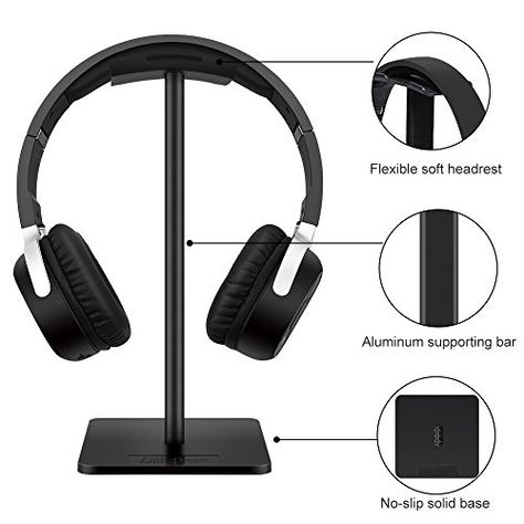 Headphones Stand with Adjustable 360 Rotating Arm Universal Fit Red Built in Cable Clip Organizer Under Desk Clamp On Design ENHANCE PC Gaming Headset Hanger Headphone Holder Mount