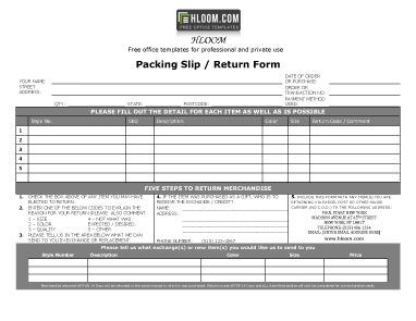 Packing Slip With Return Form  Free Packing Slip Template