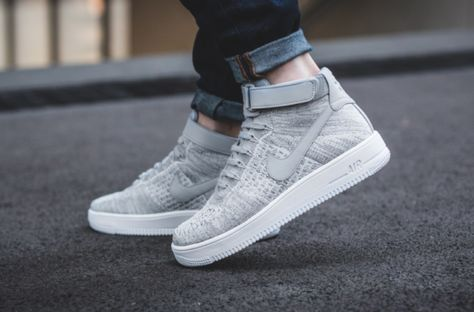 Wolf Grey Covers The Nike Air Force 1 Ultra Flyknit Mid