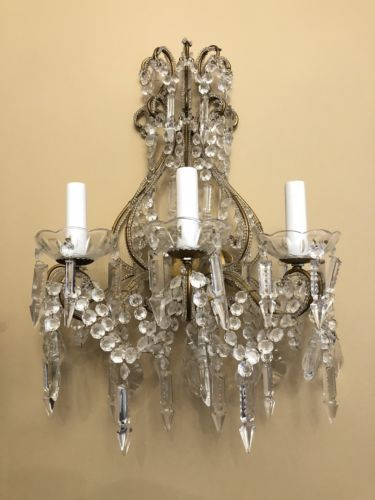 Pair Vintage Italian Crystal Macaroni Beaded Directoire Chandelier Wall Sconces Chandelier Wall Sconces Sconces