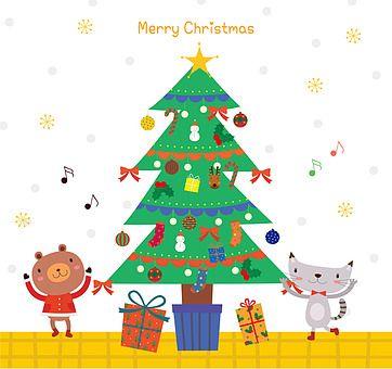 일러스트 크리스마스 겨울 플랫디자인 크리스마스트리 나무 의인화 귀여움 전신 사람없음 미소 오너먼트 크리스마스장식 동물 고양이 곰 선물 선물상자 정면 손들기 걷기 눈사람 음표 팬시 카드 우편 크리스마스 트리 크리스마스 카드 크리스마스 그림
