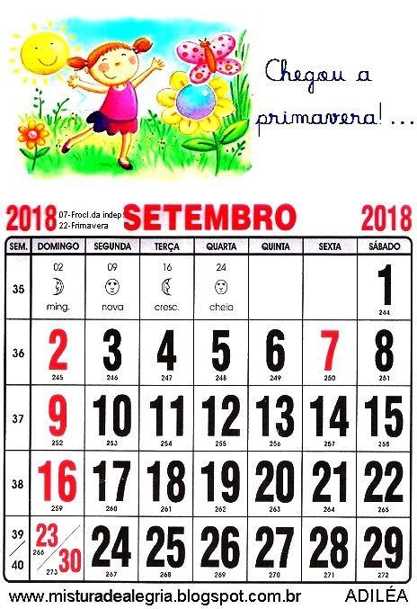 Lindo Calendario De 2018 Ilustrado Para Imprimir Com Imagens