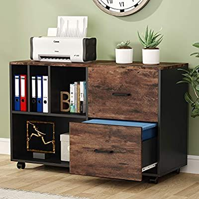 Amazon Com Tribesigns 2 Drawer Lateral File Cabinets Legal Size Large Vintage Mobile Filing Cabinet Pr Filing Cabinet Home Office Rustic Lateral File Cabinet 2 drawer legal size file cabinet