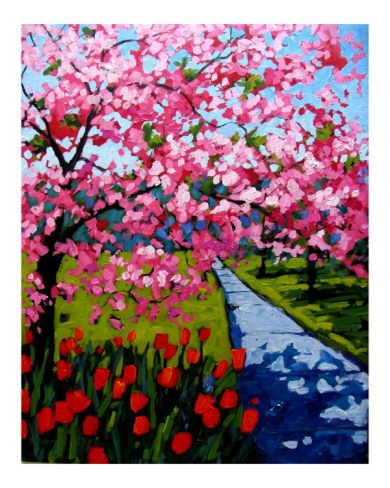 Pink Blossoms and Red Tulips by Patty Baker