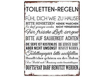 Wandschild Metallschild Toiletten Regeln Lustig Dekoschild Badezimmer Wc Badezimmer Regeln Wandschilder Toiletten
