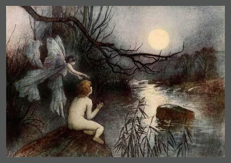 He Watched The Moonlight On The Rippling River Water Babies A