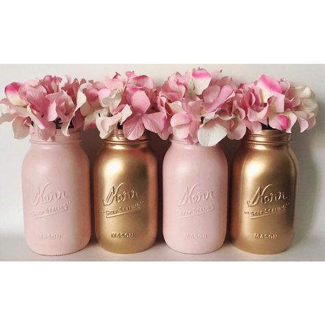 Pink Mason Jars, Gold Mason Jars, Pink and Gold, Gold First Birthday, It's A… - Mason Pink And Gold Birthday Party, Gold First Birthday, Pink Graduation Party, 18th Birthday Party Ideas For Girls, 21 Bday Ideas, Teenage Girl Birthday, Cute Birthday Ideas, Pink Gold Party, Elegant Birthday Party