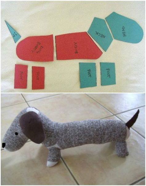 Dachshund stuffed animal made from sock monkey materials. From: Sweetpea and Me: Sock Monkey-Style Dachshund -tutorial- Sewing Toys, Sewing Crafts, Sewing Projects, Craft Projects, Sock Crafts, Fabric Crafts, Crafts With Socks, Sock Monkey Pattern, Sock Elephant Pattern