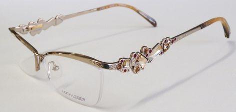 f9ad6bcb6711 New authentic judith leiber gold   red rhinestones titanium eyeglass frame  1615