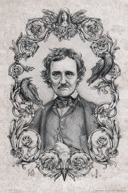 Edgar Allan Poe Drawing By Brigid Ashwood Cool Wall Decor Art Print Poster 12x18 Edgar Allan Poe Art Edgar Allen Poe Art Edgar Allen Poe Tattoo