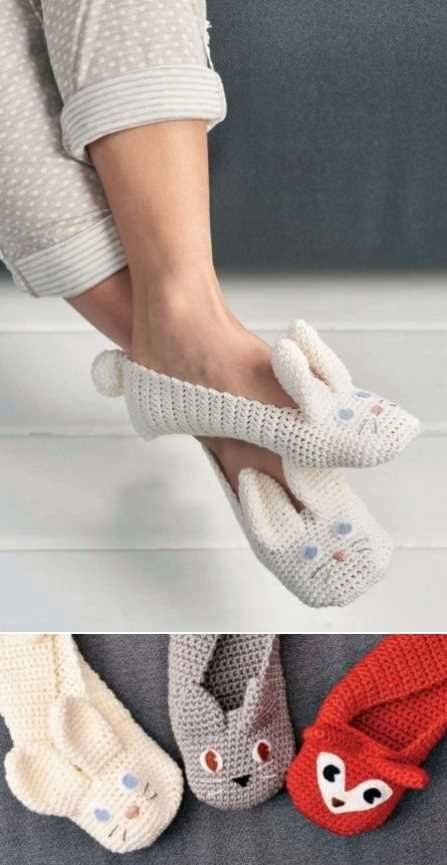 Crochet Animal Slippers Free Pattern. Skill Level: Easy We adore these quirky animal slippers for grown ups! Who says adult footwear has to be boring? We just adore these fabulous animal slippers! They are super simple to make as they use the double crochet stitch which is usually one of the first ones you learn. There's a bit of shaping for the toe area and the ears, but that's all. If you want them longer or shorter, just work more or fewer rows where instructed. Why not experiment with other