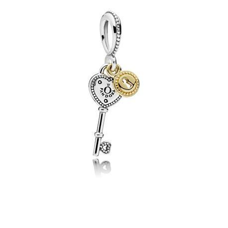 9c4cf27a305d Charm colgante PANDORA Llave de mi Corazón plata y oro. 796593