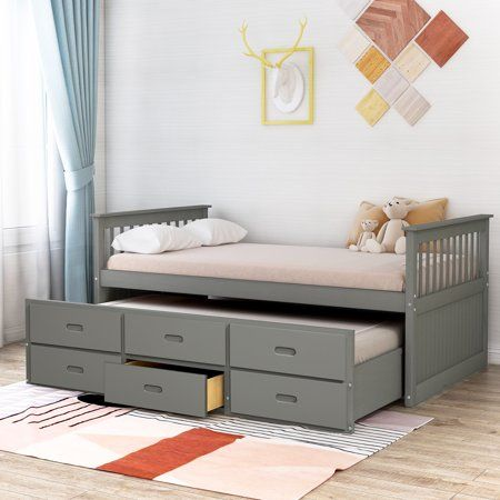 Merax Solid Wood Captain Bed With Trundle And Drawers Twin Multiple Colors Walmart Com Captains Bed Twin Trundle Bed Trundle Bed Solid wood captain's bed twin